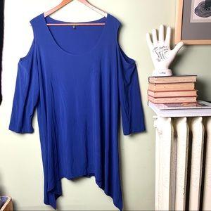 Slinky Brand Cold Shoulder 2X Cobalt Blue Blouse